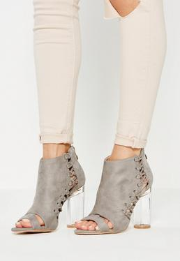 Grey Whipstitch Clear Heel Ankle Boots