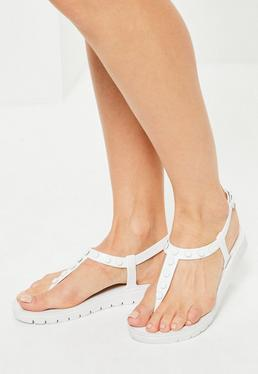 White Studded T-Bar Sandals