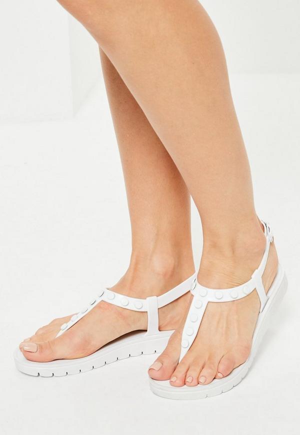 White Studded T-Bar Sandals