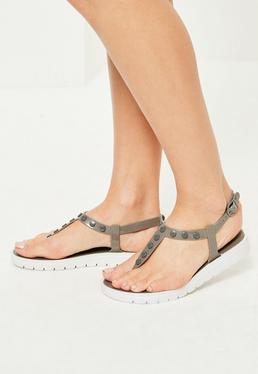 Grey Contrast Sole Studded T-Bar Sandals