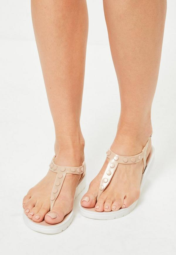 Nude Contrast Sole Studded T-Bar Sandals