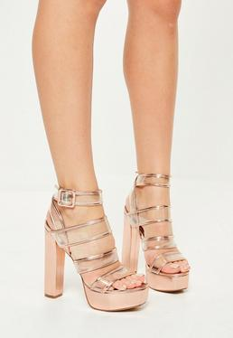 Plateau Blockabsatz Sandalen mit transparenten Multi-Riemen in Rose-Gold