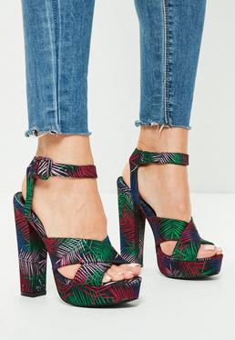 Black Printed Cross Strap Platform Heeled Sandals
