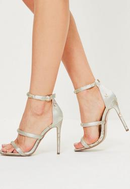 Grey Floral Embroidered Three Strap Barely There Heels