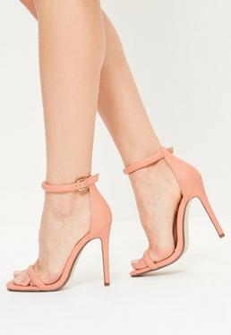 Nude Rounded Strap Barely There Heels