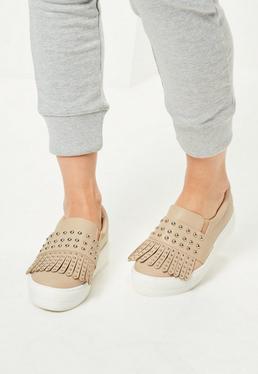Nude Tassel Studded Flatform Sneakers