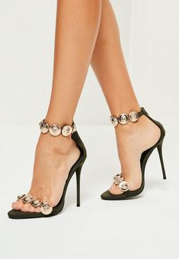 Peace + Love Khaki Embellished Strap Heeled Sandals