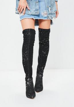 Botas altas por la rodilla en denim negro