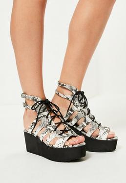 Grey Snake Print Lace Up Flatform Sandals