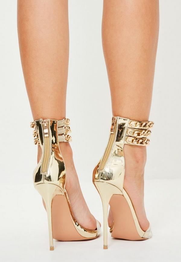 Peace   Love Gold Triple Chain Heels | Missguided