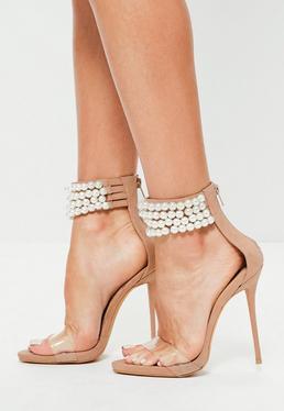 Peace + Love Perlenbesetzte High Heels Absatzschuhe mit transparentem Riemen