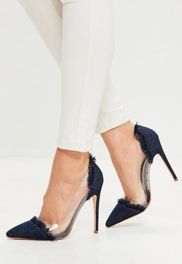 Navy Clear Panel Pointed Toe Court Shoes