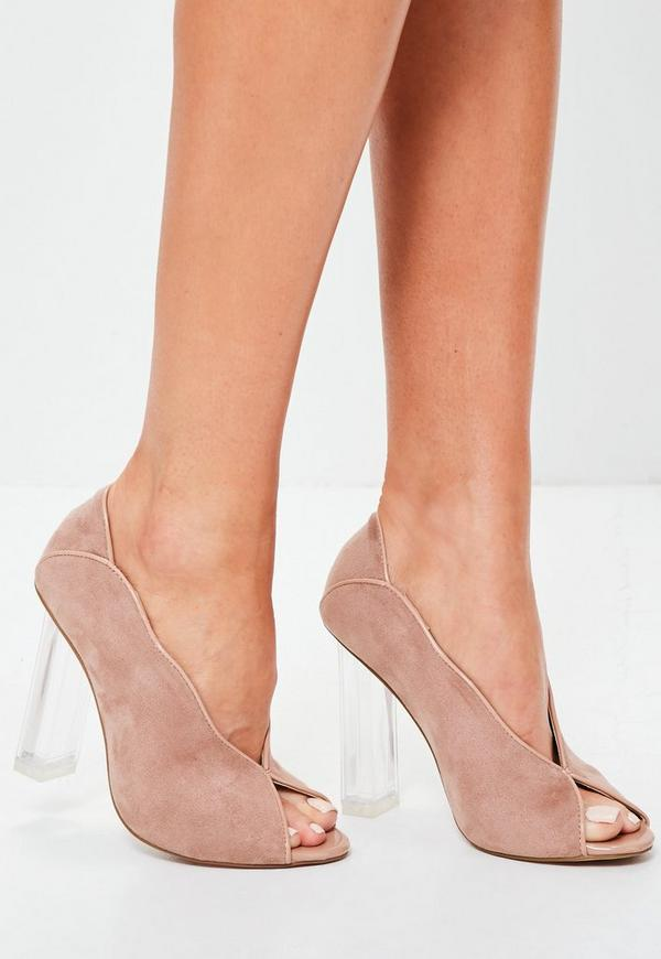 Pink Clear Heel Peep toe Court Shoes