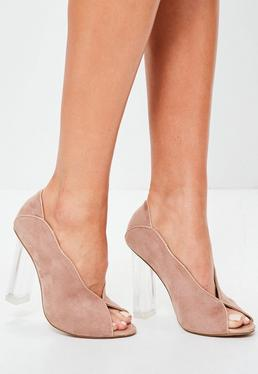 Pink Perspex Heel Peeptoe Court Shoes