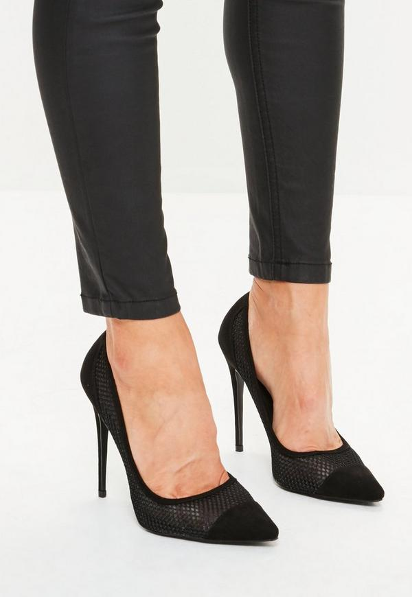Black Mesh Pointed Court Shoes