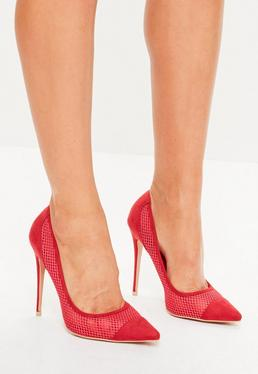 Red Mesh Pointed Pumps
