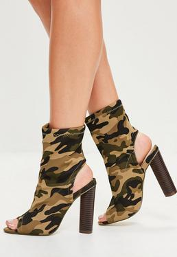 Bottines vert kaki peep toe camouflage