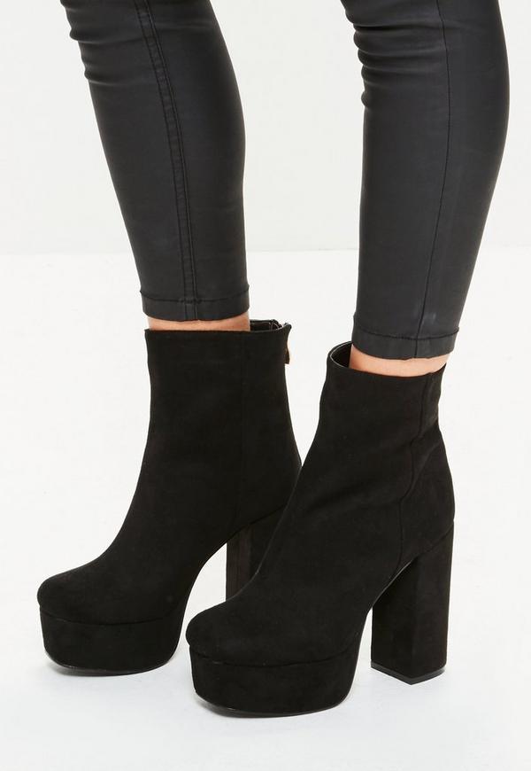 Black Super Platform Ankle Boots Missguided