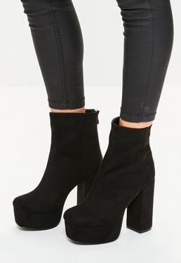 Schwarze Plateau Ankle-Boots