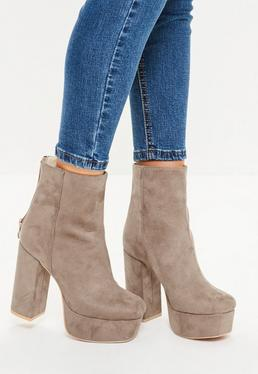 Grey Super Platform Ankle Boots
