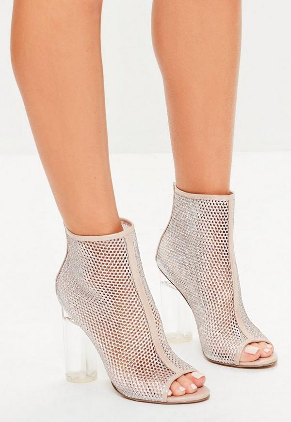 Nude Peep Toe Fishnet Ankle Boots