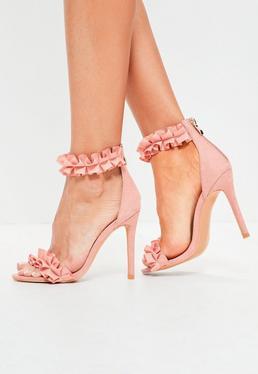 Rosa Absatz-Sandalen mit Rüschendetails