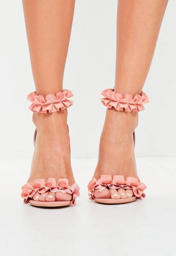 rosa absatz sandalen mit r schendetails missguided