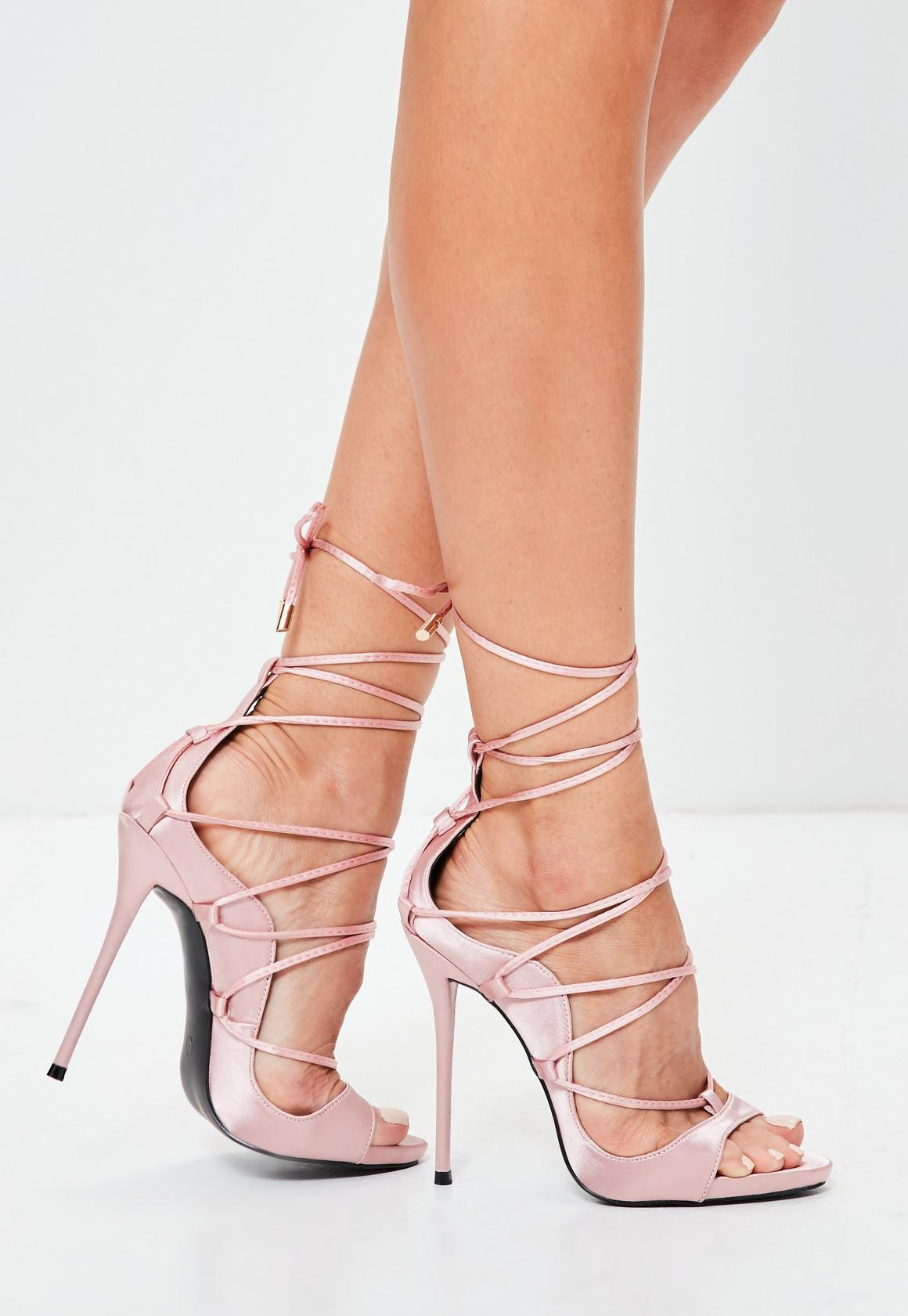 Pink Satin Gladiator Sandals | Missguided