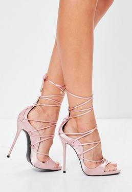 Pink Satin Gladiator Sandals