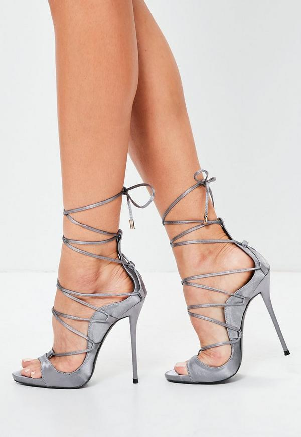satin stiletto r mer sandalen in lila missguided. Black Bedroom Furniture Sets. Home Design Ideas