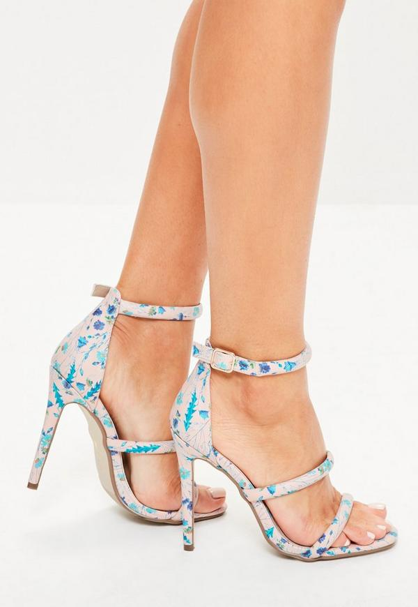 Nude Ditsy Floral Three Strap Sandals