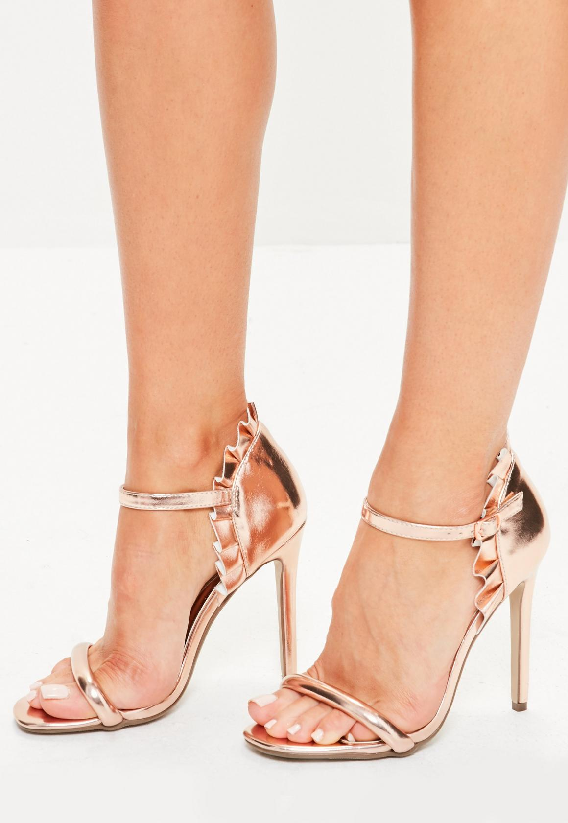 Rose Gold Ruffle Back Strappy Sandals | Missguided Australia