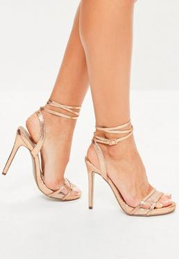 High Heel Sandalen mit Wickelschnürung in Rosé-Gold