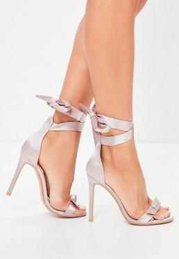 Pink Bow Wrap Around Sandals