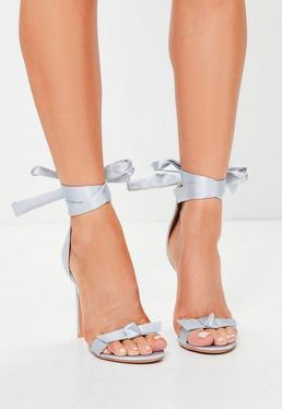 Grey Bow T Bar Sandals