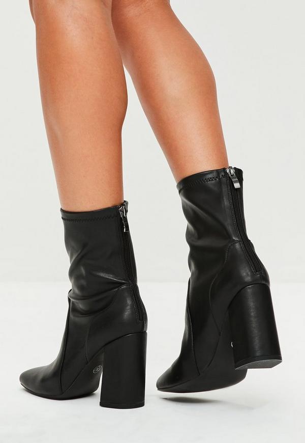 schwarze sock boots aus faux leder missguided. Black Bedroom Furniture Sets. Home Design Ideas