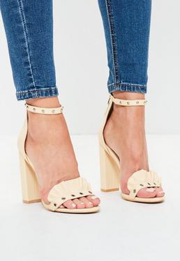 Zapatos de tacón cuadrado con ojales en nude