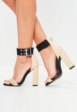 Nude Double Eyelet Strap Block Heeled Sandals