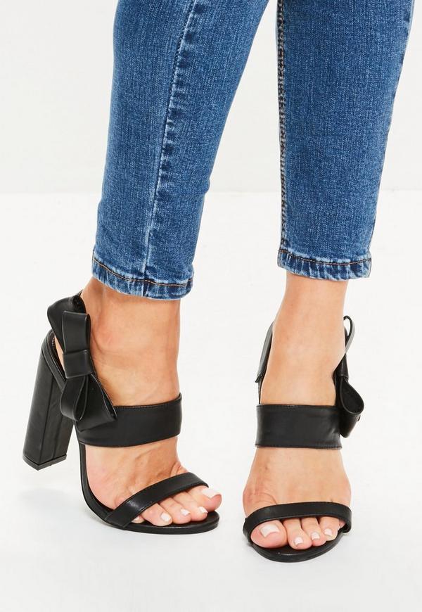 blockabsatz sandalen mit schleife in schwarz missguided. Black Bedroom Furniture Sets. Home Design Ideas