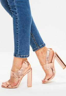Rose Gold Side Bow Block Heeled Sandals