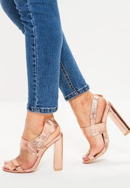 Sandales à talons roses dorés avec nœud sur le côté