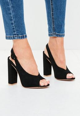 Black Faux Suede Peep Toe Block Heel Sandals