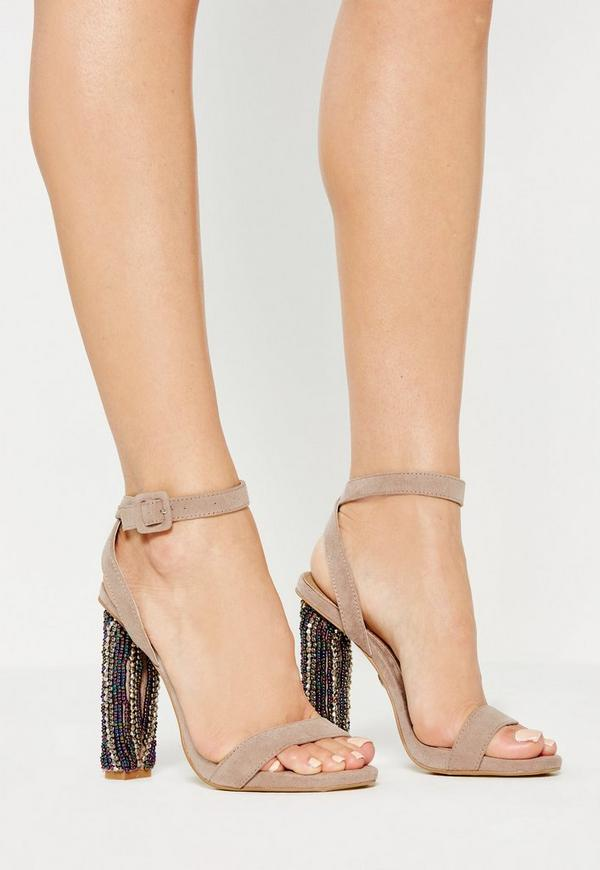 Nude Beaded Block Heel Sandals
