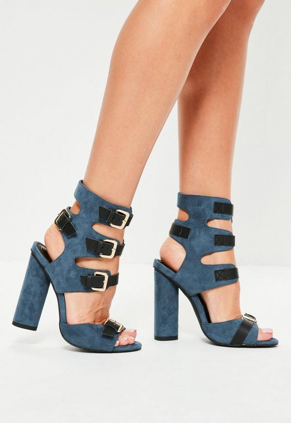 Navy Multi Buckle Gladiator Sandals