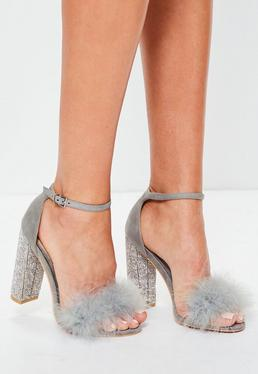 Grey Glitter And Feather Block Heel Sandals