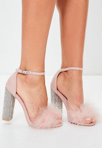 Pink Glitter And Feather Block Heel Sandals Missguided
