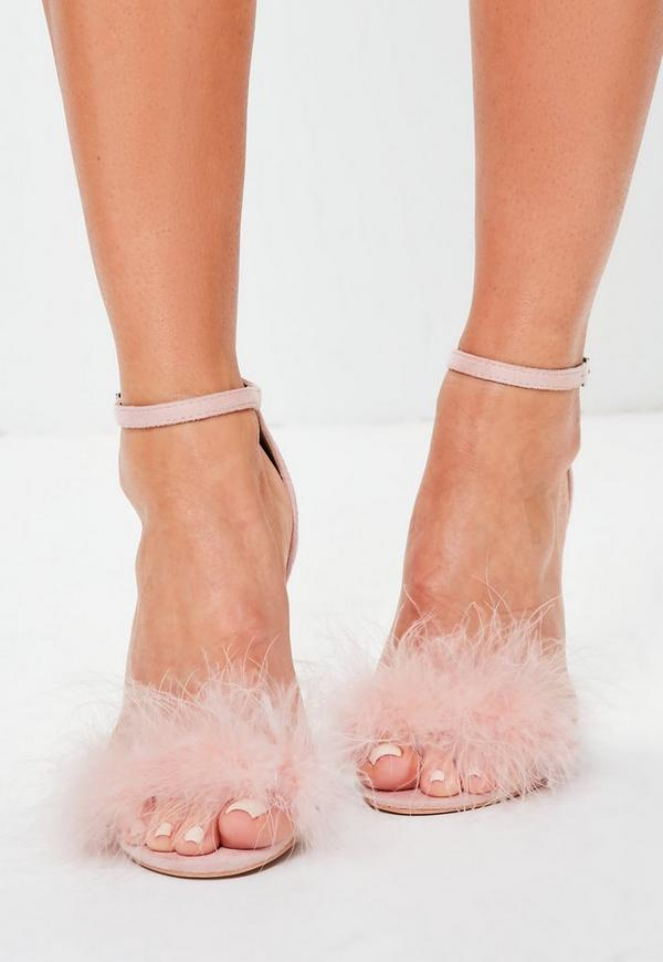 feder sandalen mit glitzer absatz in rosa missguided. Black Bedroom Furniture Sets. Home Design Ideas