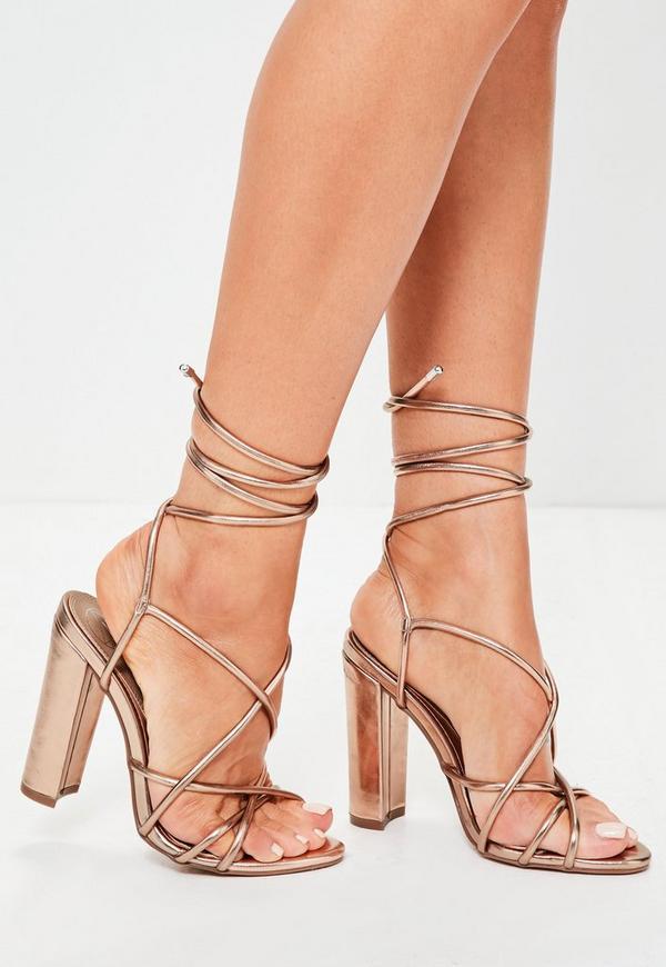 Rose Gold Multi Strap Sandals
