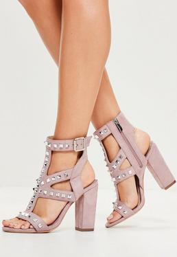 Purple Studded Detail Block Heeled Sandals