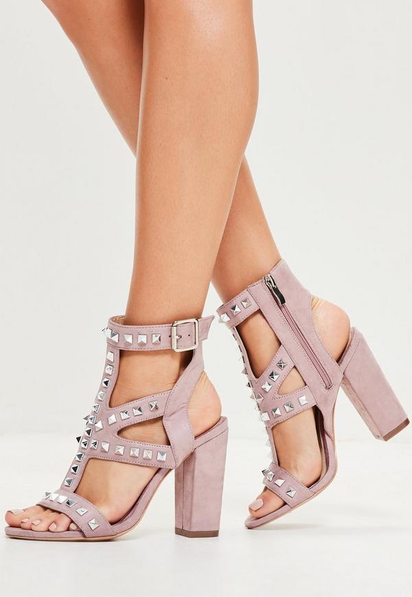 Purple Studded Detail Block Heeled Sandals